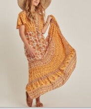 Boho V-ncek Gypsy Maxi Vestidos Dress