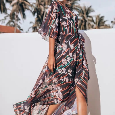 Cover Up Beach Wear Bikini 2019 Dresses For Women Pareo Tunics Summer 2019 Chiffon Lengthened Coastal Skirt Print Acetate Sierra - Shopperstrail