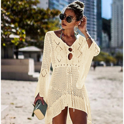 Bikini Cover Up Lace Hollow Crochet Swimsuit Beach Dress Women 2018 Summer Ladies Cover-Ups Bathing Suit Beach Wear Tunic - Shopperstrail