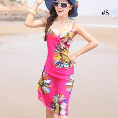 Women Swim Skirt Beach Dress Sexy Sling Wear Dress Sarong Bikini Cover-ups Wrap Pareo Skirts Towel Flower Open-Back Swimwear - Shopperstrail