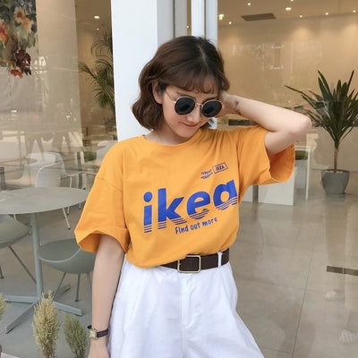 Summer korean casual loose purple Tshirt Women Letter T-shirts Printing Funny Tee Shirt For Female Top Clothes Short Sleeve Tees - Shopperstrail