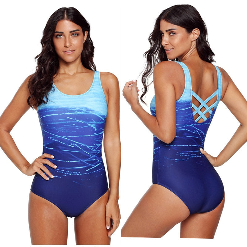 Women Swimwear One Piece Backless Bathing Suit Monokini Swimsuit Cross U Back Halter Water Sports Beach Wear - Shopperstrail