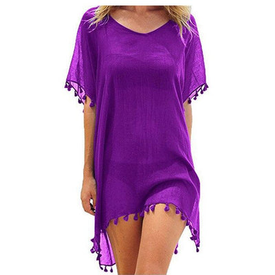 ITFABS Ladies Beach Dress 2019 Solid Beach Cover up Women Tassel Shirt Sexy Beachwear Sun Bathing Suit - Shopperstrail