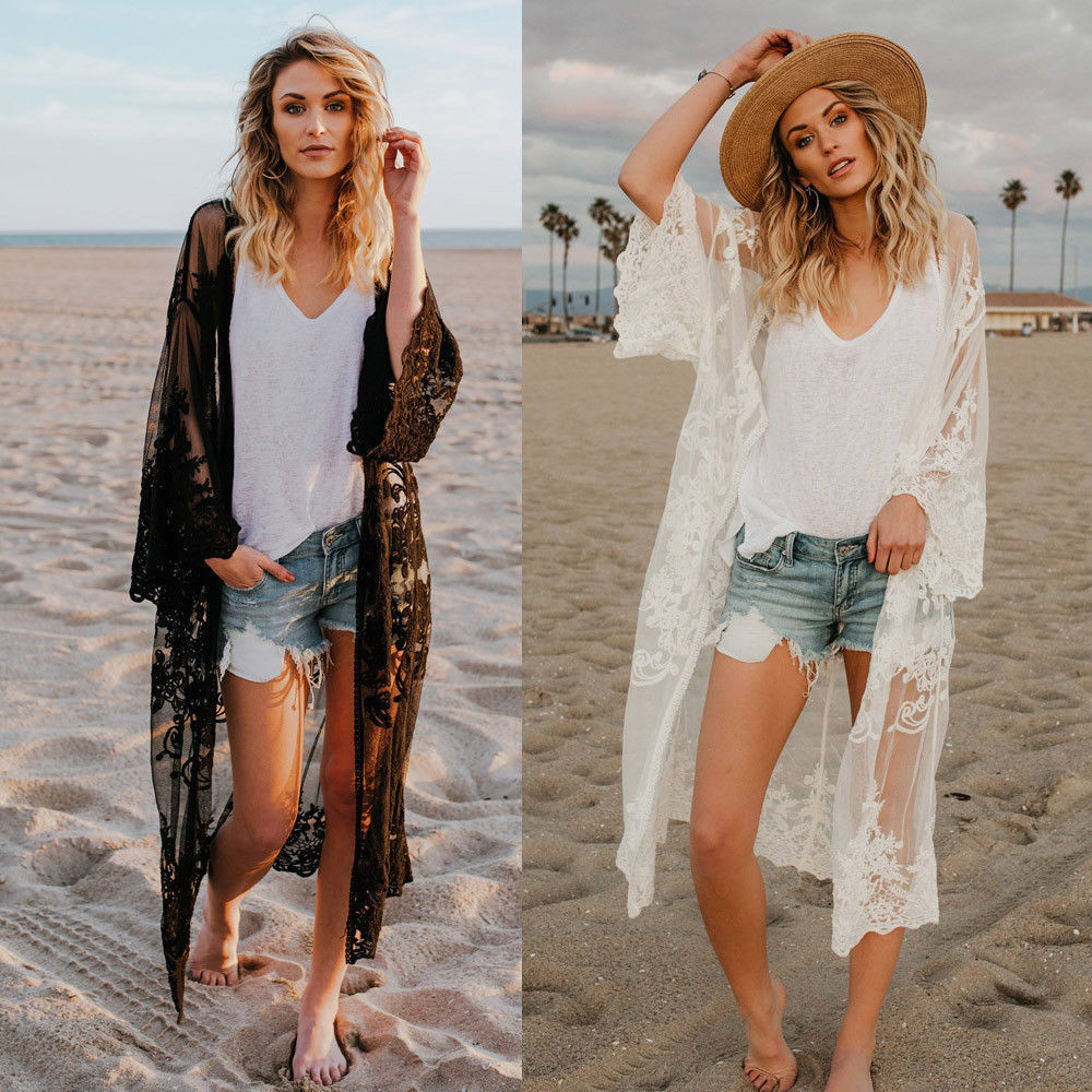 Women Lace Cardigan Kaftan Shawl Coat Beach Wear Swimwear Cover Up Blouse Tops Cape Pareo 2019 Sexy Bathing Suit - Shopperstrail
