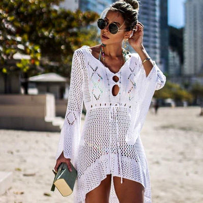 New Sexy Cover Up Bikini Women Swimsuit Cover-up Beach Bathing Suit Beach Wear Knitting Swimwear Mesh Beach Dress Tunic Robe - Shopperstrail