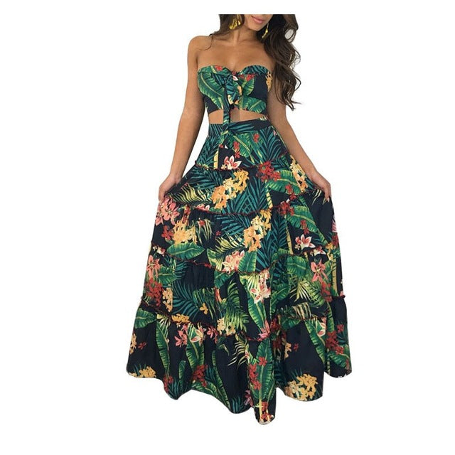 Strapless Floral Print Boho Bow Long Maxi Dresses