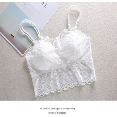 Hot sexy women bra Summer 2019 fashion Sheer Lace floral Bralette Bras Girls Strappy lingerie bra underwear sweet wire free Bra - Shopperstrail