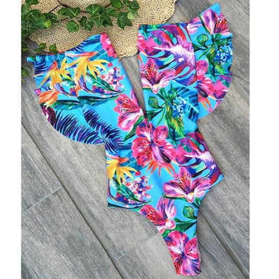 Sexy Ruffle One Piece Swimsuit 2019 Swimwear Women Monokini Bodysuit Backless Swimsuit Female Bathing Suits Summer Beach Wear - Shopperstrail