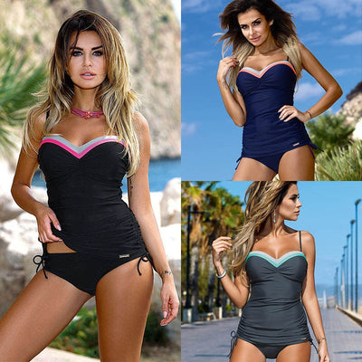 TQSKK 2019 New Patchwork Women Swimwear Sexy Female Push Up Swimsuit Sexy Tankini Set Retro Summer Beach Wear Bathing Suits - Shopperstrail