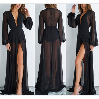 Summer Beach Wear Tunics For Beach Bathing Suit Cover Ups Swimwear Cover Up Women 2019 Sexy Mesh Floor Length Suits Dress Maios - Shopperstrail