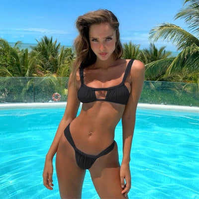 2019 Sexy Bikini mujer Swimwear Women Swimsuit Brazilian Bikini Set Solid Bathing Suits Beach Wear Biquini maillot de bain femme - Shopperstrail