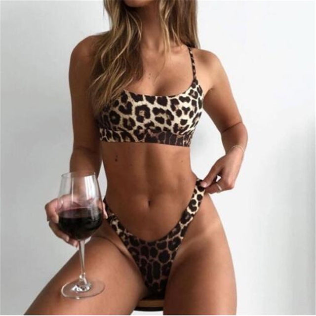 2 PCS Sexy Thong Bra Set G Thongs Bra Set Push Up Vest Top Women Underwear Panty Set Leopard Printed Bra Lingerie Sets - Shopperstrail