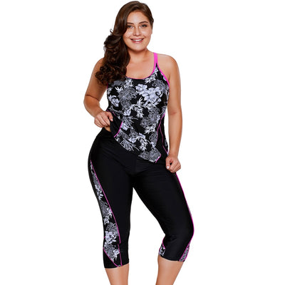 Women Plus Size Swimwear Print Tankini Top & Sports cropped Pants Fitness Two-Piece Swimsuit Beach Wear Bathing Suits S~3XL - Shopperstrail