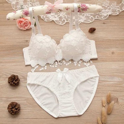 Japanese lingerie set thin embroidery push up bra set sexy lace underwear set Floral bras for women bra and panty set bh - Shopperstrail