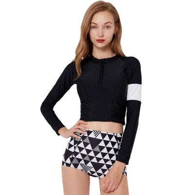 Two Piece Rash Guard Women Swimwear Print Surf Wear Water Sports Swimsuit Shorts for Diving Swimming Shirt Rashguards - Shopperstrail