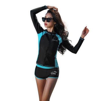 New Surfing Swiming Suits Long Sleeves Wetsuits Tight Surfing Water Sports Wear Sports Clothes for Women SwimWear Surfing Suit - Shopperstrail