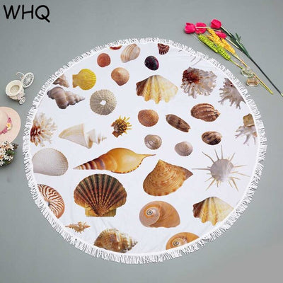 Round Beach Towel Beach Microfiber SHOWER BATH TOWELS Shell Sea Ocean Print Summer Swimming Shawl Yoga Mat with Tassel 150CM - Shopperstrail