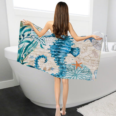 Polyester Beach Towels for Adults Woman Kids Picnic Mat Sea Turtle Print Bath Towels Cartoon Octopus Printed toalla de playa - Shopperstrail