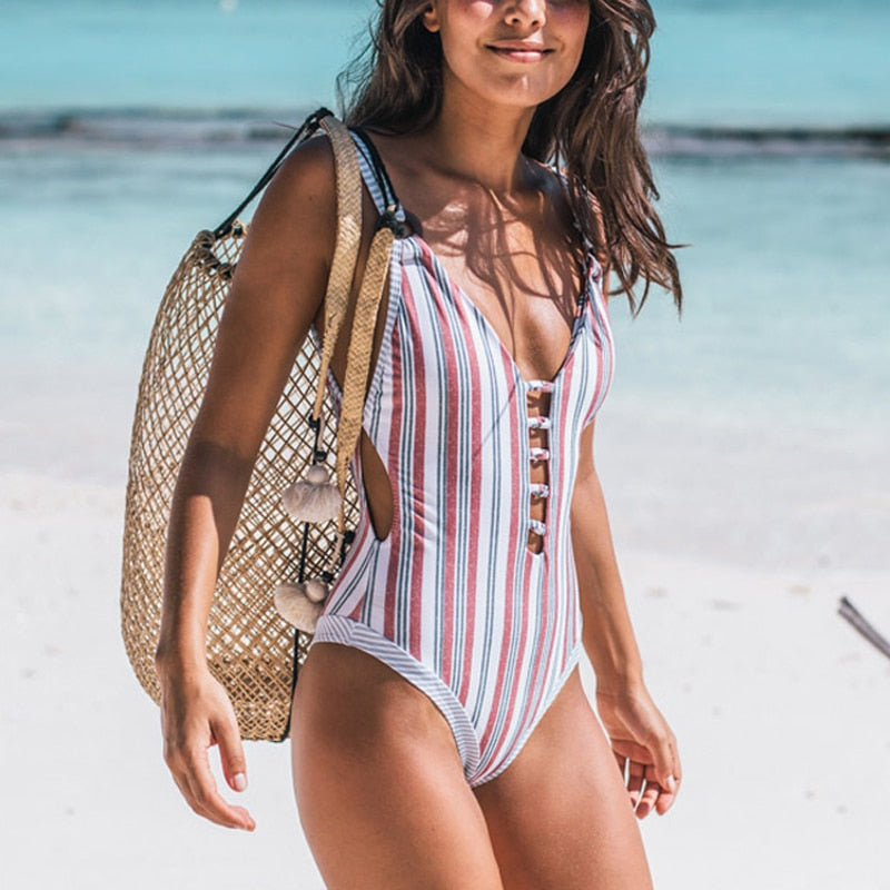 2019 One Piece Swimsuit Women Swimwear Push Up Monokini Sexy Bathers Striped Swimming Suit Female Beach Wear Fused Bathing Suits - Shopperstrail