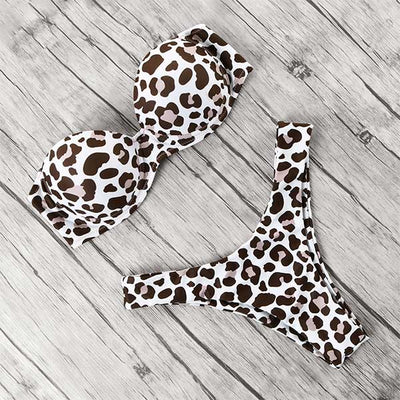 animal print leopard bikini push up swimsuit sexy women bikini set 2019 brazilian thong bathing suit bandeau beach wear swimwear - Shopperstrail