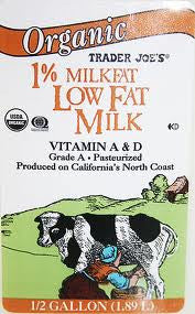 Trader Joe's Organic Milk (1% Low Fat)