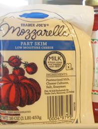 Trader Joe's Mozzarella Part Skim Low Moisture Cheese