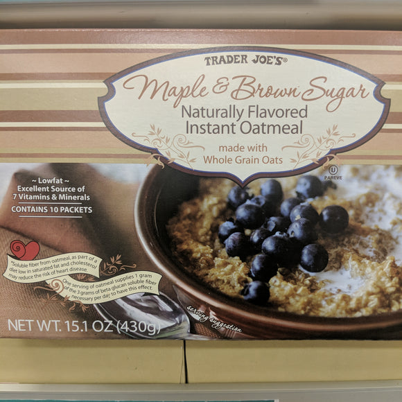 Trader Joe's Maple and Brown Sugar Instant Oatmeal