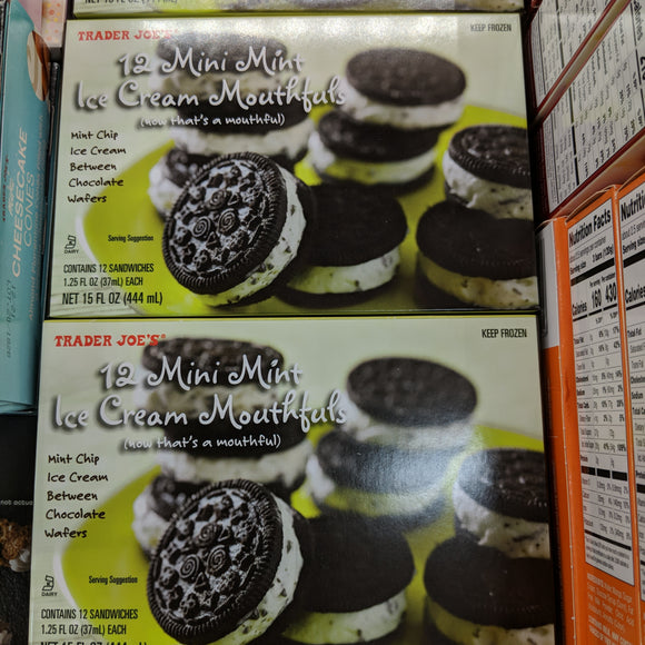Trader Joe's Mini Mint Ice Cream Mouthfuls (12 count, Mint Chocolate Chip)