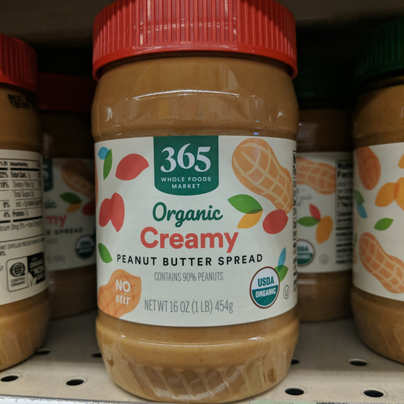 Whole Foods Organic Brands 365 Brand Organic Creamy Peanut Butter