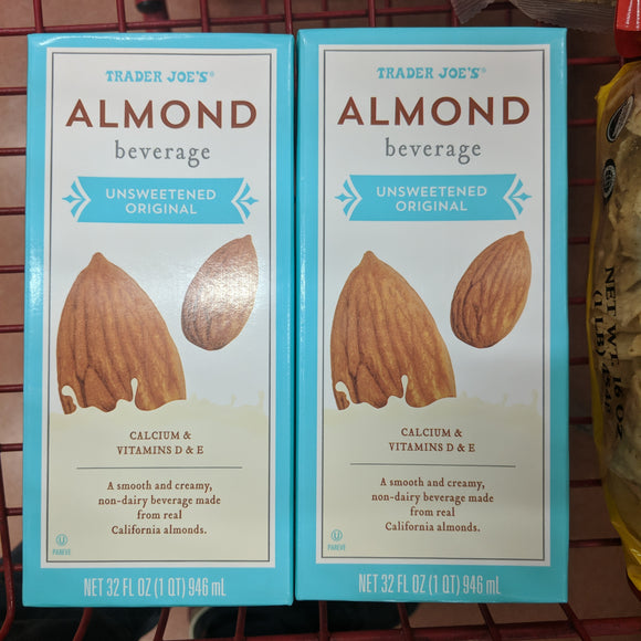 Trader Joe's Almond Smooth Non-Dairy Beverage (Original, Unsweetened)