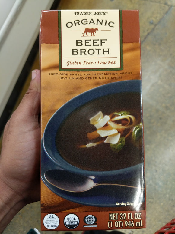Trader Joe's Organic Beef Broth (Low Fat, Gluten Free)