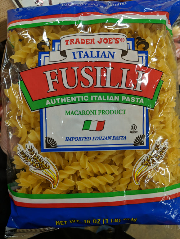 Trader Joe's Italian Fusilli Authentic Italian Pasta