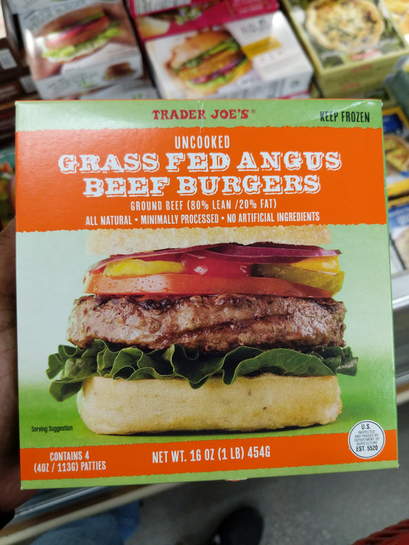 Trader Joe's Grass Fed Angus Burgers (Frozen)