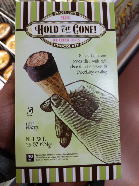 Trader Joe's Hold the Cone Mini Ice Cream Cones  (8 Count, Chocolate, Mini Ice Cream Cones Filled with Rich Chocolate Ice Cream and Chocolate Flavored Ending)