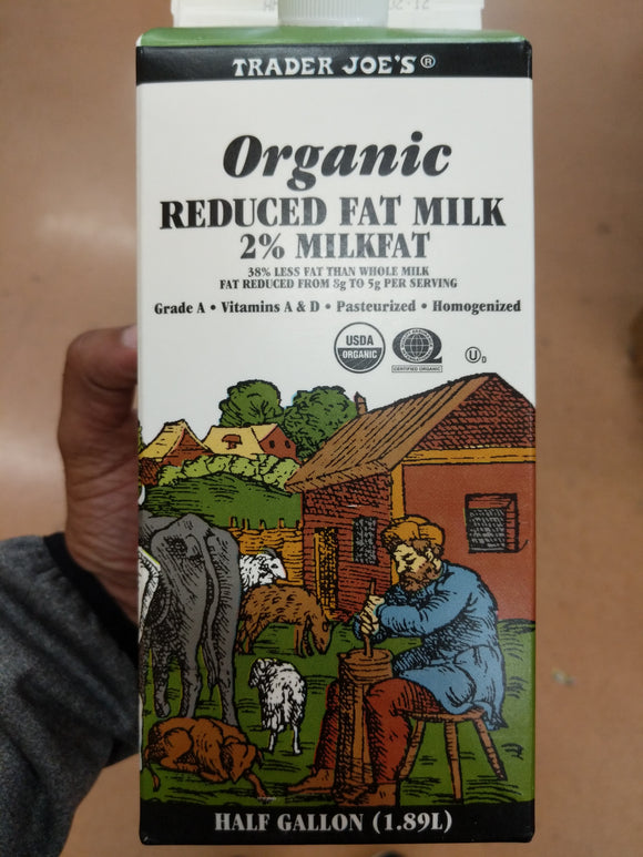 Trader Joe's Organic Milk (2% Reduced Fat)