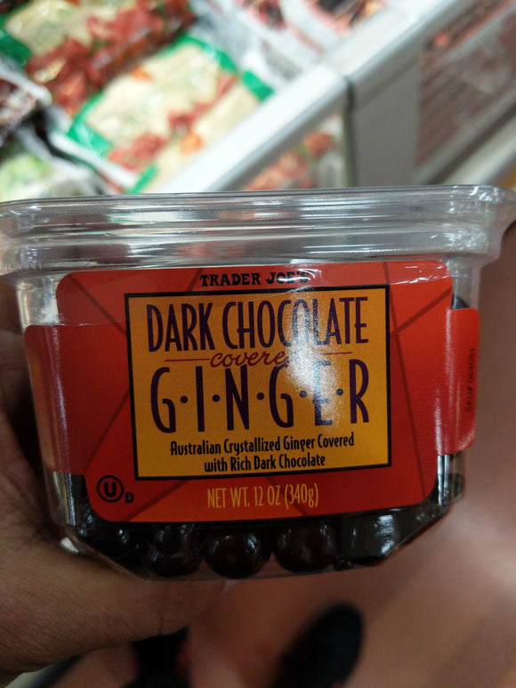 Trader Joe's Dark Chocolate Covered Ginger (Australian Crystallized Ginger covered with Rich Dark Chocolate)