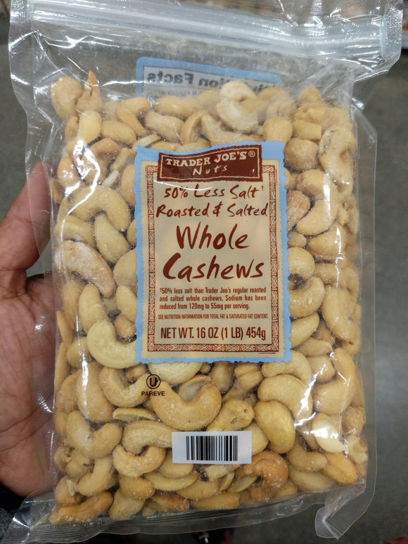 Trader Joe's Roasted and Salted Whole Cashews (w/ Less Salt)