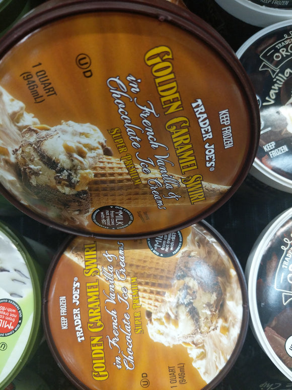 Trader Joe's Super Premium Golden Carmel Swirl Ice Cream (French Vanilla & Chocolate Ice Cream with Carmel Swirl)