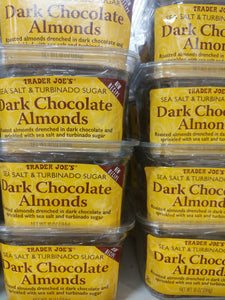 Trader Joe's Dark Chocolate Almonds (Roasted Almonds Drenched in Dark Chocolate and Sprinkled with Sea Salt and Turbinado Sugar)