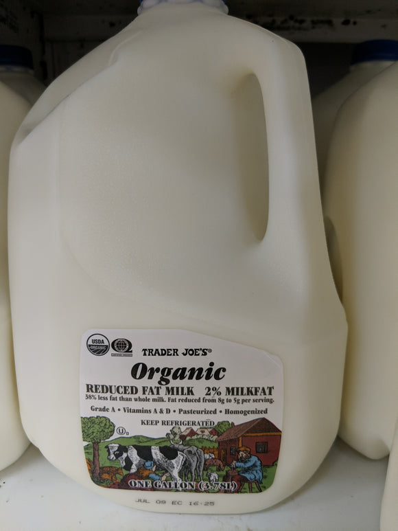 Trader Joe's Organic Milk (2% Reduced Fat, gallon)