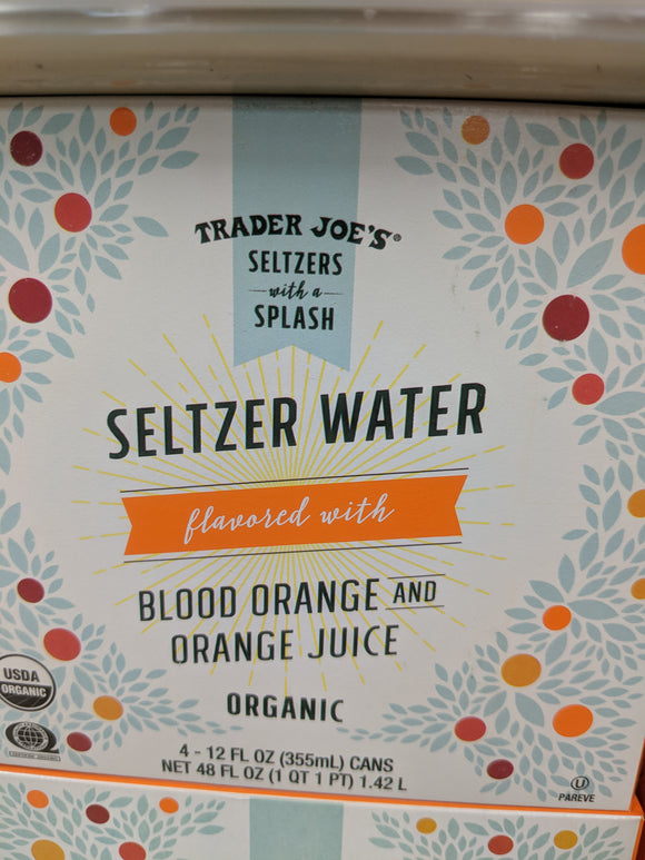 Trader Joe's Organic Seltzer Water with Blood Orange and Orange Juice (4 pack)