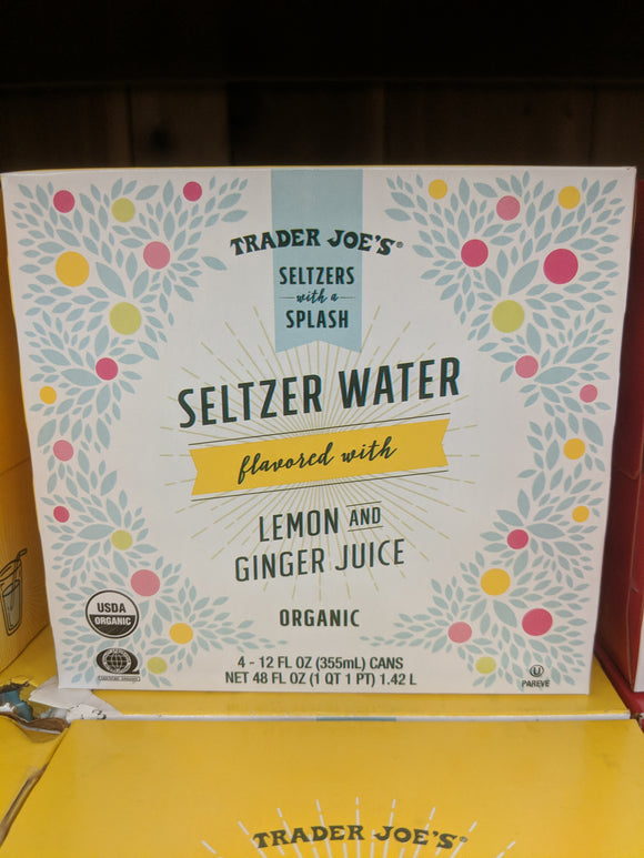 Trader Joe's Organic Seltzer Water with Lemon and Ginger Juice (4 pack)
