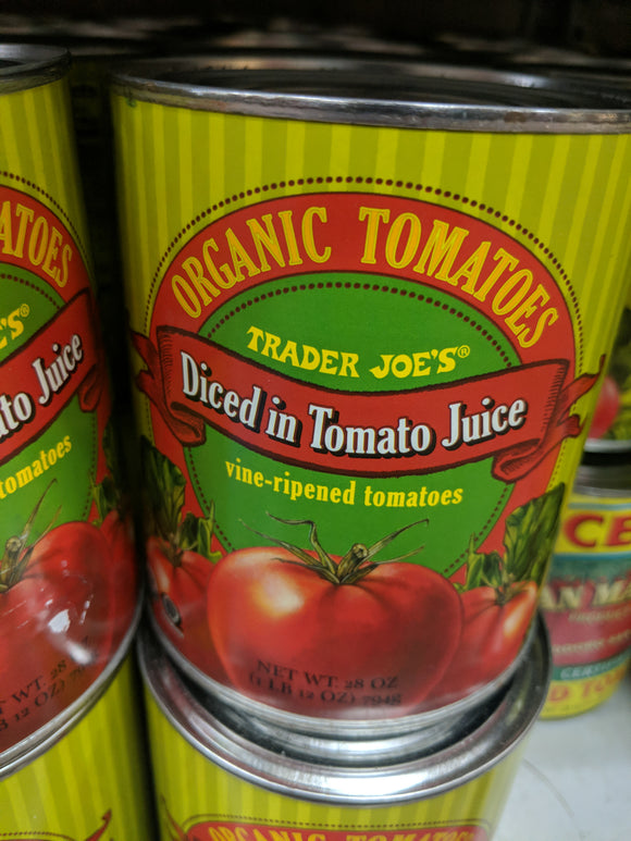 Trader Joe's Canned Organic Tomatoes (Diced in Tomato Sauce)