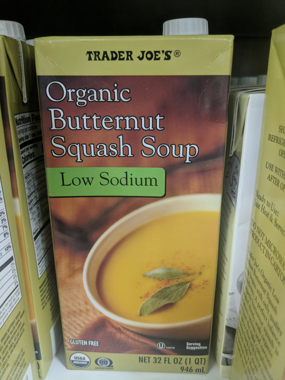 Trader Joe's Organic Butternut Squash Soup (Low Sodium)