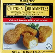 Trader Joe's Chicken Drummettes (Made with Boneless White Chicken Meat, Fully Cooked, Frozen)