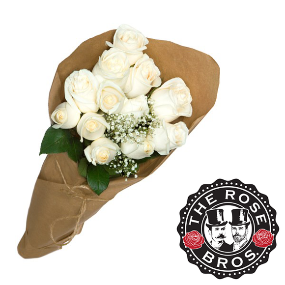 12 Stem White Rose Bouquet