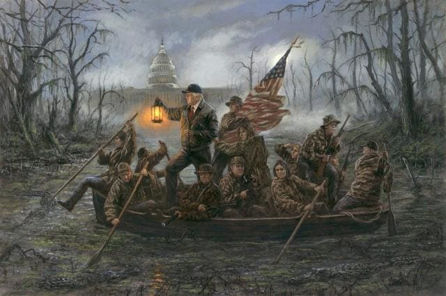 Artist's Painting of Trump 'Crossing the Swamp'