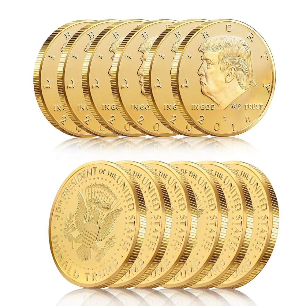 12 Pack Of 2018 Trump Gold-Plated Coins...Great For Gift Giving Less Than $10 A Coin