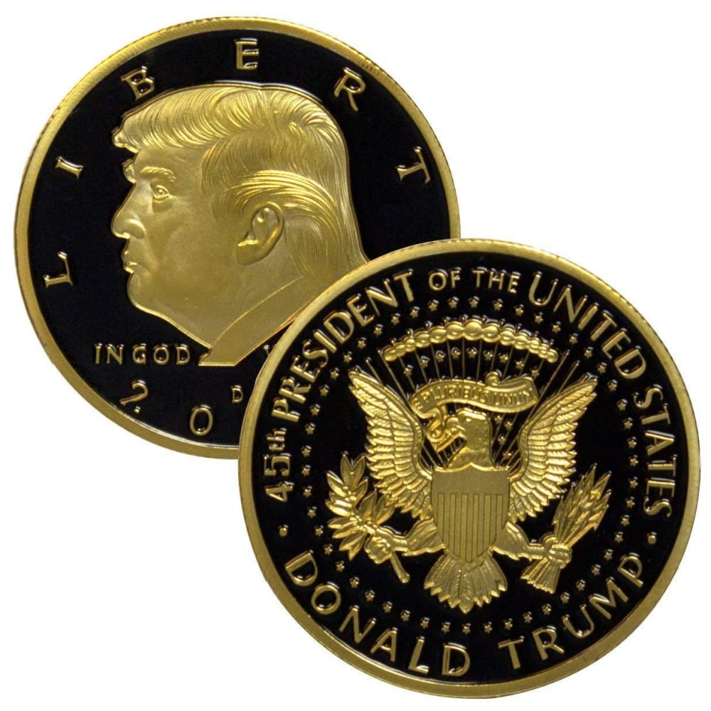 2018 Limited Edition Donald Trump Coin: 24kt Gold Plated with Black Inlay