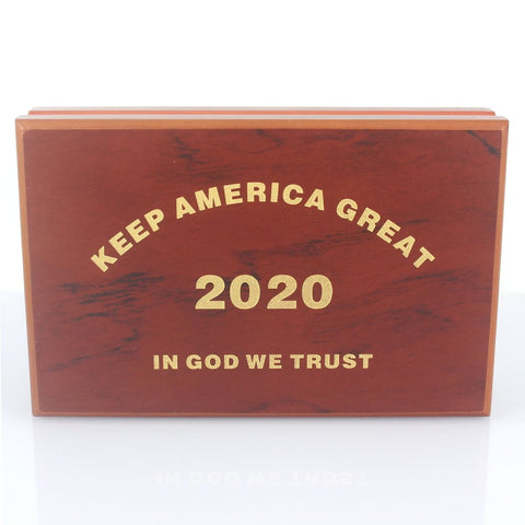 Image of 2020 Keep America Great Challenge Coins In Wooden Storage And Display Case - Coin